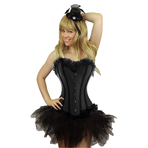 Ladies Red /& Black Burlesque Can Can Fancy Dress Costume Outfit UK 8-18