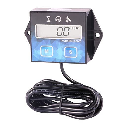 Tach Maintenance Hour Meter Tachometer for Small Engine Boat Generator Lawn Mower Motorcycle Motocross ATV Snowmobile UTV