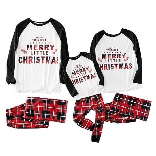 FEDULK Matching Family Christmas Pajamas Stripe Print Holiday Sleepwear Nightwear Kids Pjs Sets