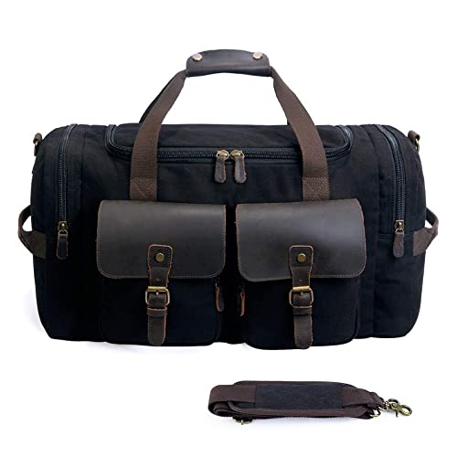 Canvas Duffle Bag overnight bag 22 inch Leather Weekend Bag Carry On Travel Bag Luggage Oversized Holdalls for Men and Women