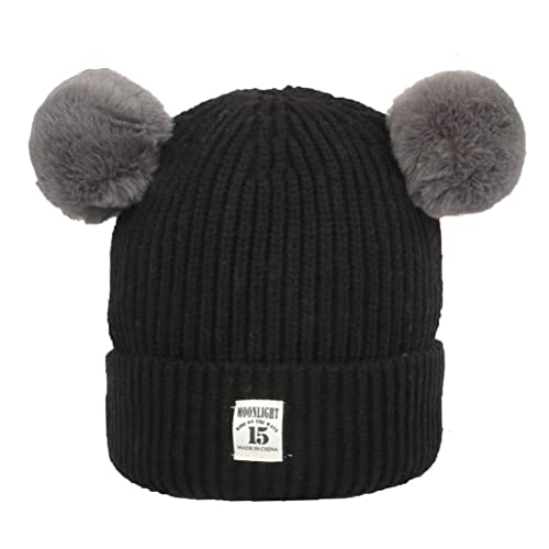 5d5fcceff XYIYI Kids Baby Toddler Winter Warm Cable Knit Hat, Children's Thick  Stretchy Braided Beanie Cap-Black