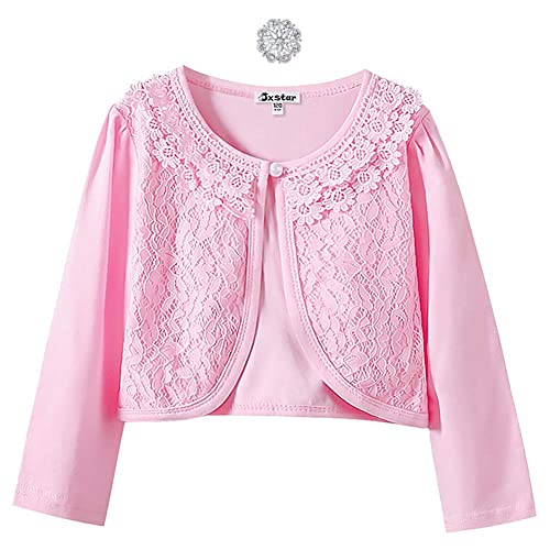 Agoky Kids Girls Long Sleeves Flower Satin Bolero Shrug Cardigan Jacket Cover Up