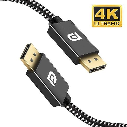 Grey Laptop Display Port Cable High Speed DisplayPort to DisplayPort Cable Compatible PC TV ivanky DisplayPort Cable 6.6ft DP Cable Nylon Braided Slim Aluminum Shell 2K@165Hz, 2K@144Hz, 4K@60Hz