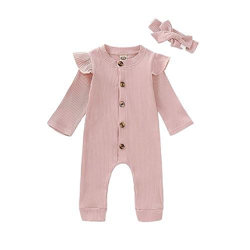 KMBANGI Newborn Baby Girl Floral Nightgowns Sleeper Gowns with Headband Set 0-12M