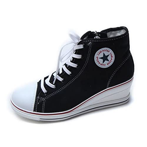 New Women/'s Casual Canvas High Tops Zip Lace Up Wedges Fashion Sneakers Shoes