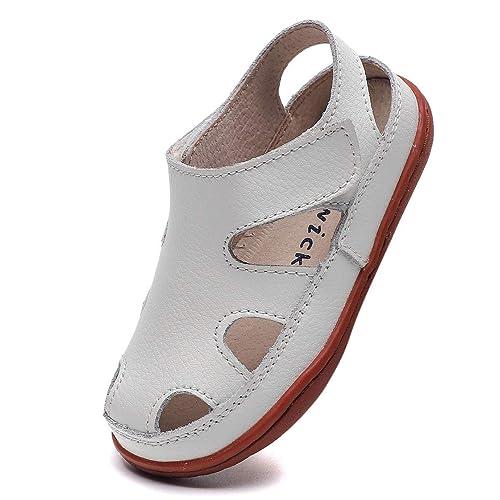 DADAWEN Boys Girls Leather Soft Closed Toe Outdoor Beach Summer Sport Sandals Water Shoes Toddler//Little Kid//Big Kid