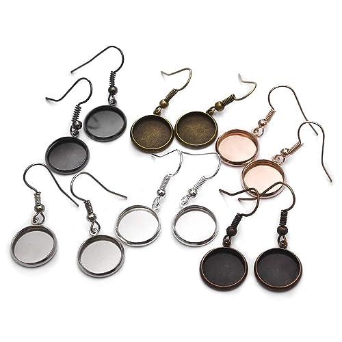 DROLE 220Pcs Bezel Earrings Blanks Cabochon Settings Kit-60Pcs Earring Blanks 60Pcs Cabochons for Jewelry Making and 100Pcs Earring Wire Hooks Antique Silver Total 220Pcs