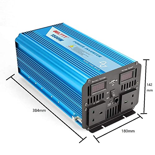 EDECOA Pure Sine Wave Power Inverter 1000W DC 12V to 240V AC Converter 2 USB Ports with Remote Controller