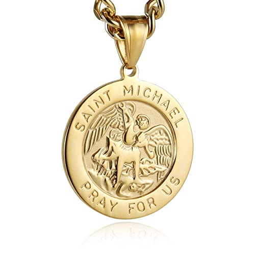 Dacai Gold Silver Saints Michael The Archangel ST Medal Stainless Steel Amulet Protection Mens Womens Cross Ring
