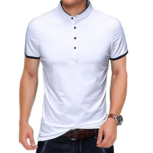3963659c82ec Buy KUYIGO Men's Casual Slim Fit Shirts Pure Color Short Sleeve Polo  Fashion T-Shirts with Ubuy Kuwait. B07DW1W6S6