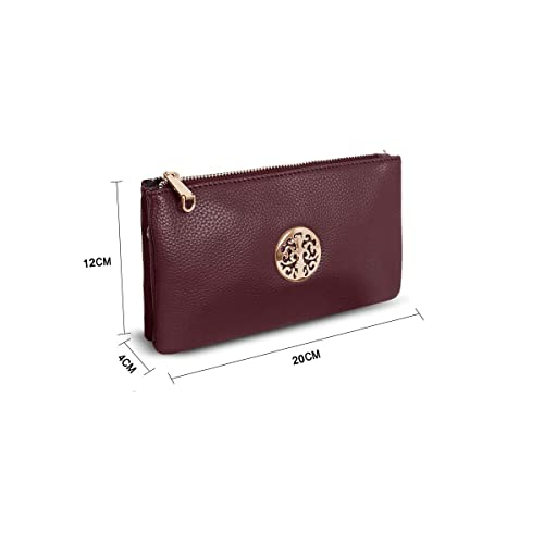 Bonjanvye Clutch Purses and Clutches for Women Double Pearl Bright Leather Evening Bags