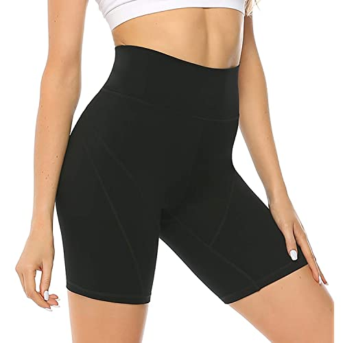 Women Elastic Sports Shorts Side Pocket Athletic Yoga Fitness Running High Waist