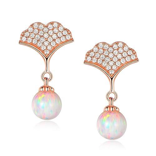 Buy Silver Earrings For Women Rose Gold Plated Drop Earrings Opal Gemstone Jewellery Gifts For Ladies Girls Mum Online In Kuwait B07qsfdsv2