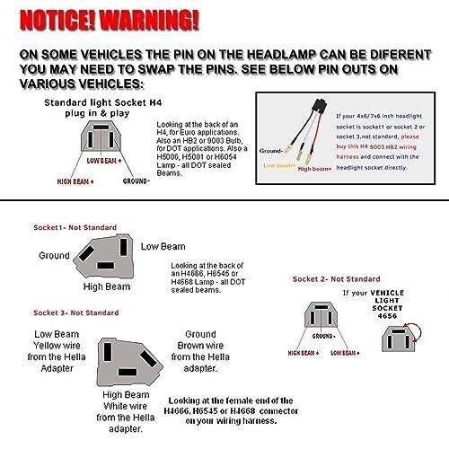 Buy 4pcs 60W Rectangular 4x6 Led Headlights Dot Approved ... H Headlight Plug Wiring Diagram For on