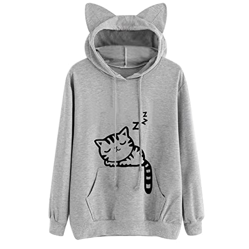 ZIPSAK Womens Hoodie Sweatshirt Long Sleeve Animal Zipper Pouch Hood Tops Carry Cat Breathable Pullover Hoodie