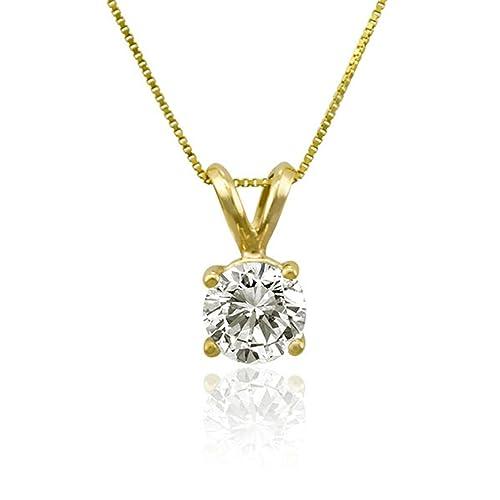Clara Pucci 1.20 CT Princess Cut Simulated Diamond Solid 14K Yellow Gold Solitaire Pendant Box Necklace 16 Chain CP B4PEN 145