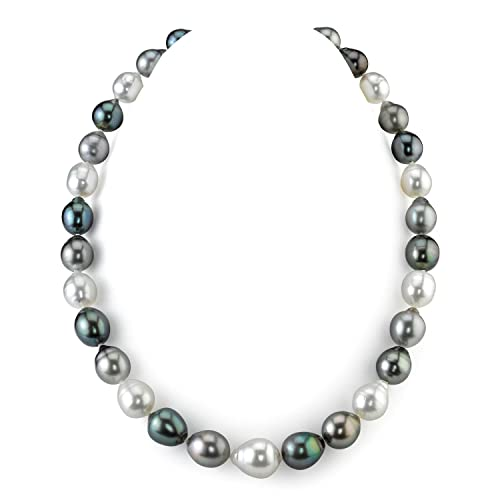 THE PEARL SOURCE 14K Gold 10-13mm AAAA Quality Round Genuine Multicolor Tahitian South Sea Cultured Pearl Necklace in 16 Choker Length for Women