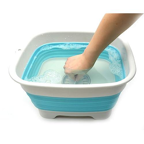 Foldable Washing Basin SAMMART 9.1L Collapsible Dishpan with Draining Plug Portable Dish Washing Tub 1, Grey Space Saving Kitchen Storage Tray 2.4Gallon