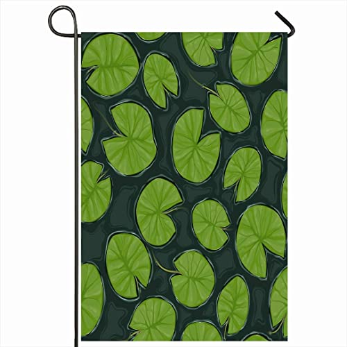 Buy Ahawoso Outdoor Garden Flag 28x40 Inches Green Plant Leaf River Pond Lily Pads Texture On Water Nature Pattern Lake Dark Lilies Depth Drawing Seasonal Home Decor Welcome House Yard Banner Sign