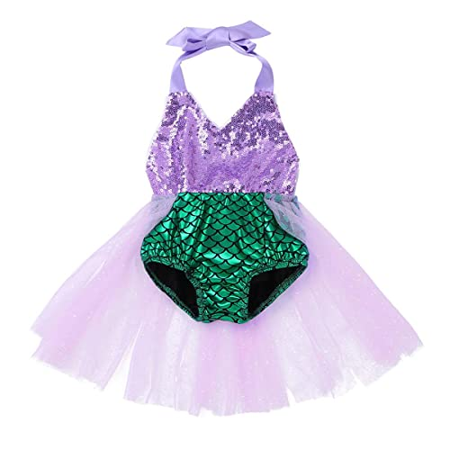Agoky Kids Girls Shiny Mermaid Scales Printed Fishtail Skirt Role Play Costume Green 2 Years