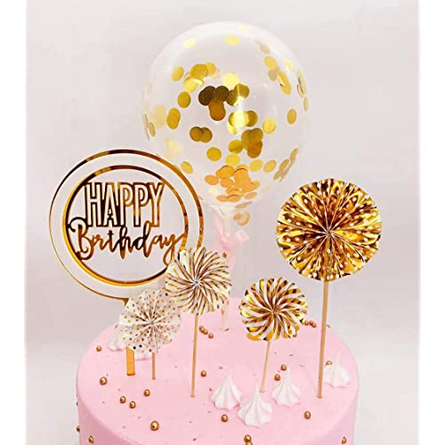 Happy Birthday Cake Topper Set Paper Fans Confetti Balloon Acrylic Cupcake Topper for Birthday Cake Decoration Golden