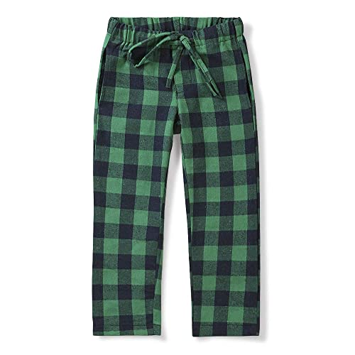 Phorecys Boys Pajama Pants Woven Plaid Cotton Lounge Sleepwear PJs Soft Bottoms with Pockets Blue 9-10 Years
