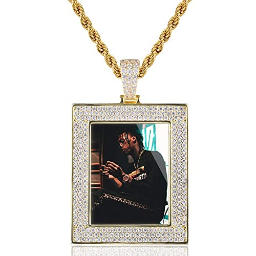 YIMERAIRE Hip Hop Jewelry Rope Necklace with Square Pendant Iced Out Chain Pendant for Men Boys Necklace Charm