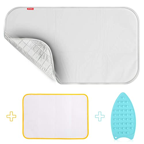 HOMILA Portable Ironing Mat with Silicone Iron Rest Skip Resistant Ironing Blanket Heat Resistant Pad Steaming Mat 19.5 X 28