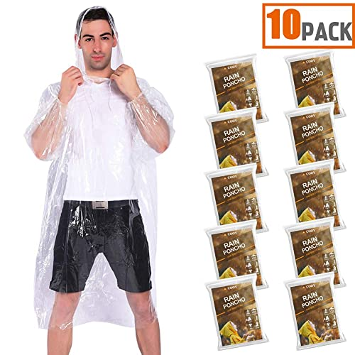 Adult Poncho Poncho for Men Rain Ponchos for Women Ponchos Adult Emergency Poncho Disposable Poncho 10 Pack w//Backpack Cover Panchos Rain Adult Pancho Rain Ponchos for Adults Disposable