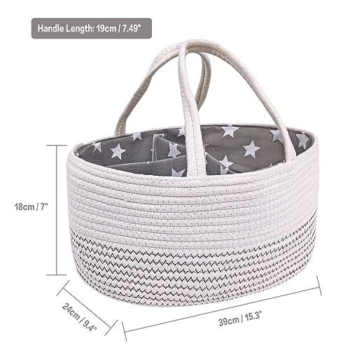 Inwagui Cute Bear Cotton Rope Storage Basket Baby Nursery Laundry Hamper Kids Toys Box Organizer Home Decor Grey