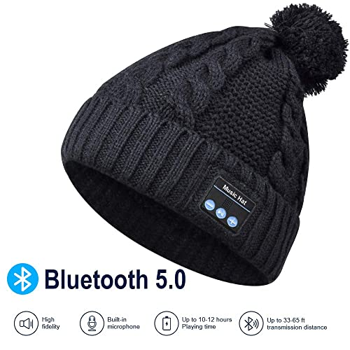 Built-in Mic HIGHEVER Upgraded 4.2 Bluetooth Beanie Hat Winter Knit Hat Wireless Headphone Musical Speaker Beanie Hat as Christmas Birthday Gifts for Men Women Teen Girls Boys
