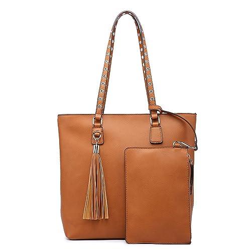 Medium, Yellow Shoulder Purse,Hobo Bag Set Tote Handbag for Women Large Chic Classic Elegant Medium Size with Wallets Tassels