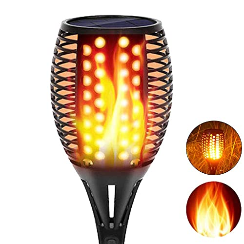 96 LED Dusk to Dawn TOPMANTE Solar Torch Lights Outdoor Upgraded Dancing Flame Lighting 2pcs Flickering Flames Torch Lights Weatherproof Solar Light Flickering Torches Outdoor Waterproof