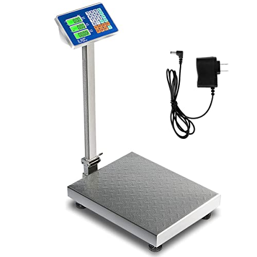 Happygrill Weight Scale 660lbs Digital Scale Floor Platform Scale for Weighing Package Shipping Mailing Postal Scale with LB//KG Price Calculator