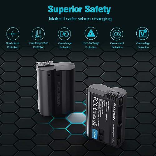 Miady EN-EL15 EL15a 2550mAh Battery and Dual LCD Charger Set Compatible with Nikon d750 d7500 d850 d500 d800 battery and More