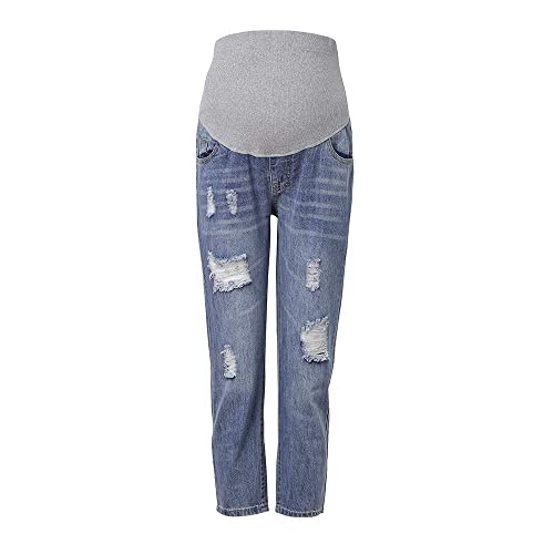 FEOYA Womens Pregnant Jeans Stretchy Slim High Waist Jegging Pants Dark Blue