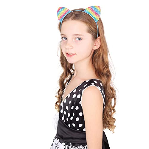 Lumsinker 6 Pcs Sequin Cat Ears Headband Glitter Hairband Headwear for Party Costumes Photo Prop