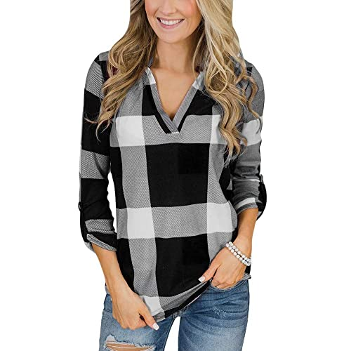 WOCACHI Womens Plaid Shirts V-Neck Button Long Sleeve Roll-up Lattice Tunic Flowy Blouses Tops
