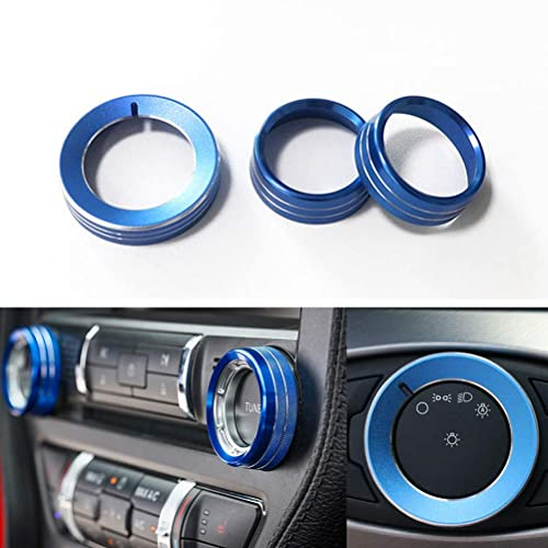 Replacement For Ford Mustang F150 2015-2016 Aluminum Alloy Headlight Lamp Adjust Control Button Knob Cover Trim Frame Ring Blue half surround