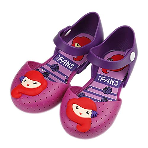 iFANS Girls Flower Princess Jelly Shoes Mary Jane Flats for Toddler Little Kids IF-008-2