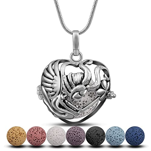 INFUSEU Silver Plated Aromatherapy Essential Oil Diffuser Locket Pendant Women Necklace with 5 Lava Stone Beads /& Chain 24