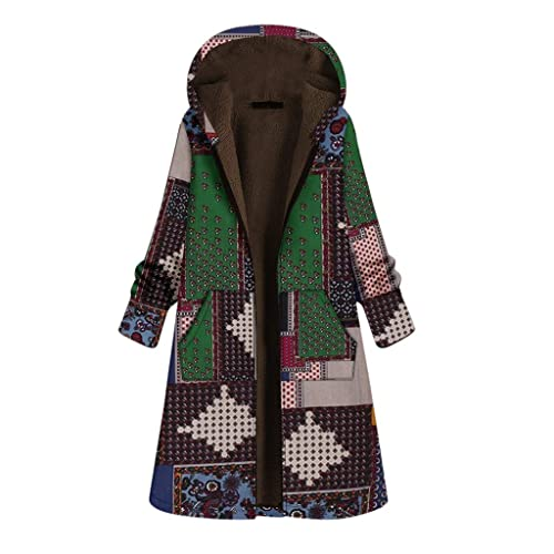Women Vintage Chinese National Style Print Plus Thick Velvet Zipper Hooded Long Coats Trench Outwear Outcoat Windbreaker Parka Cardigan Winter Qikoup
