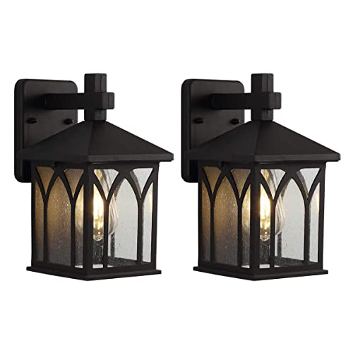 2 PACK Bronze Porch Light Lantern Wall Mount Exterior Outdoor Fixture Patio NEW