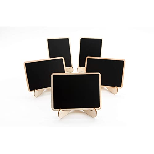 20 Pack Wood Mini Chalkboards Signs With Support Easels Small Rect Place Cards