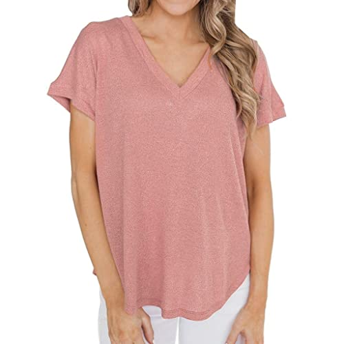 Women Plus Size V Neck Tunic Tops Cold Shoulder Short Sleeve Blouse Irregular Hem Strappy Flowy Pleated T-Shirt Tee