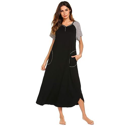 Ekouaer Women/'s Striped Nightgown,Long Loungewear Nightshirt Sleepwear with Pocket