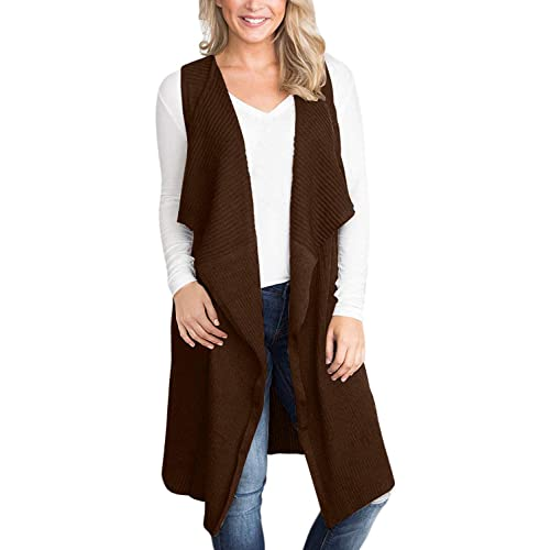 Womens Long Open Front Cardigans Long Sleeve Solid Color Coats Sleeveless Shawl Cardigan for Women Vest Tops with Pockets