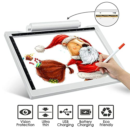 A4 Ultra-Thin Portable LED Light Box Tracer USB Power Cable Dimmable Brightness Artcraft Tracing Light Pad Light Box with DIY 5D Diamond Painting Set Colorful Deer