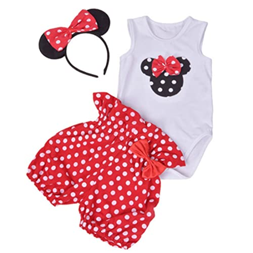 PICK YOUR LOOK Infant Baby Girl Polka Dot Print Clothes Long Sleeve Ruffle Heart Print Romper Bodysuit Bow Pants Headband 3 Pcs Set