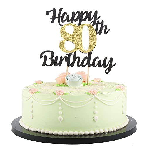 Strange Lveud Happy Birthday Cake Topper Black Font Golden Numbers 80Th Funny Birthday Cards Online Aboleapandamsfinfo